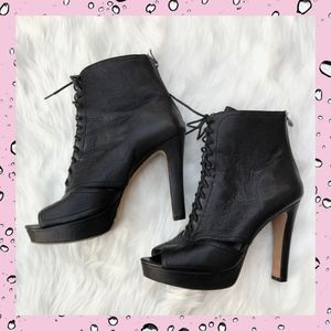 Vince Camuto Lannlo Peep Toe Ankle Lace Up Booties